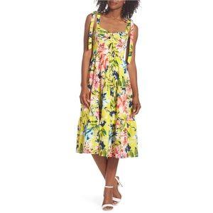 Eliza J Bow Front Tie Strap Yellow Dress NWT